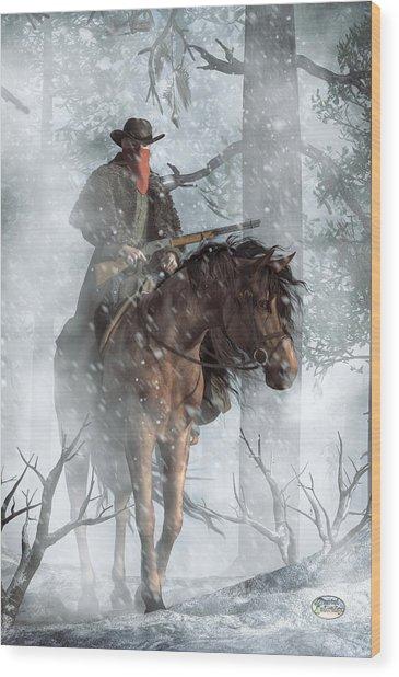 Winter Rider Wood Print