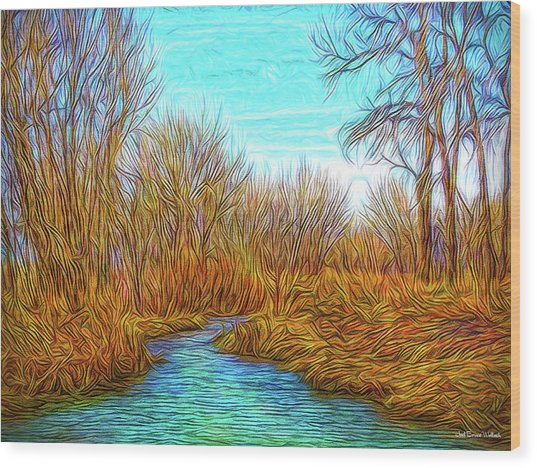 Winter River Breeze Wood Print