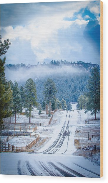 Wood Print featuring the photograph Winter Road by Jason Smith