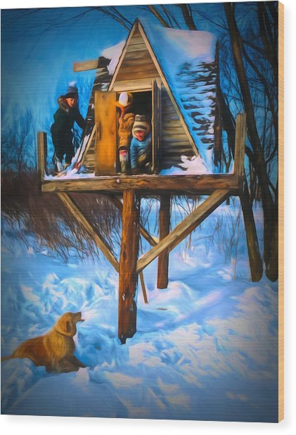 Winter Scene Three Kids And Dog Playing In A Treehouse Wood Print