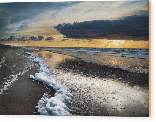 Winter Sea Sunset Wood Print