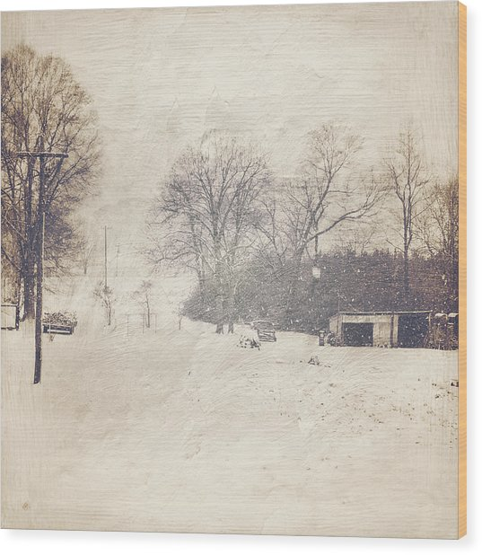 Winter Snow Storm At The Farm Wood Print