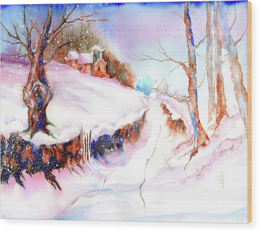 Winter Snow Wood Print