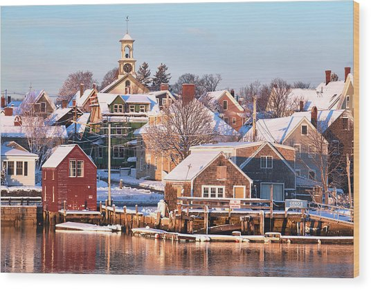Winter Snowfall In Portsmouth Wood Print