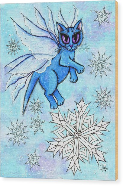 Winter Snowflake Fairy Cat Wood Print