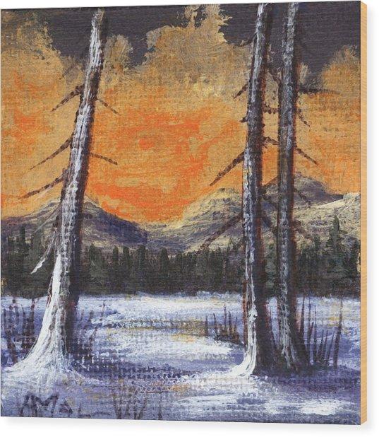 Wood Print featuring the painting Winter Solitude #2 by Anastasiya Malakhova