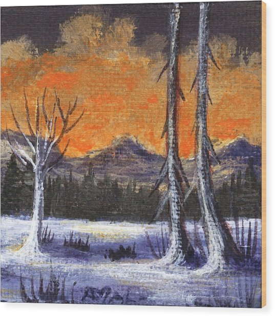 Wood Print featuring the painting Winter Solitude #3 by Anastasiya Malakhova