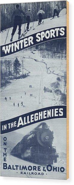Winter Sports In The Alleghenies Wood Print