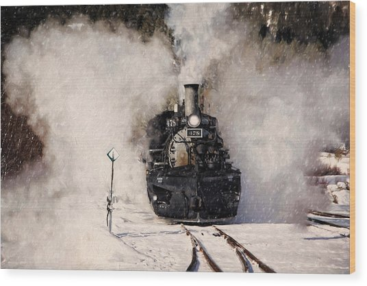 Winter Steam At Rockwood Colorado Wood Print