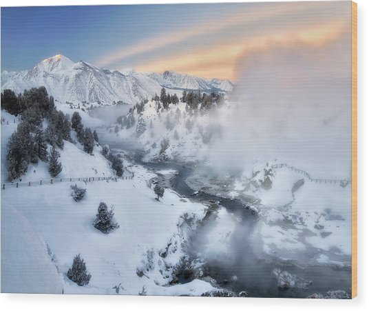 Winter Steam  Wood Print