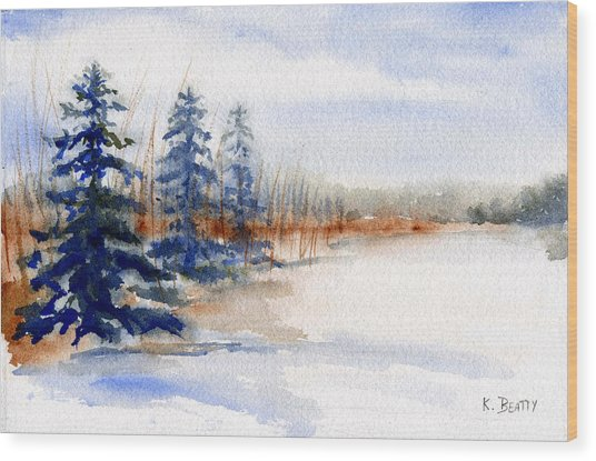 Winter Storm Watercolor Landscape Wood Print