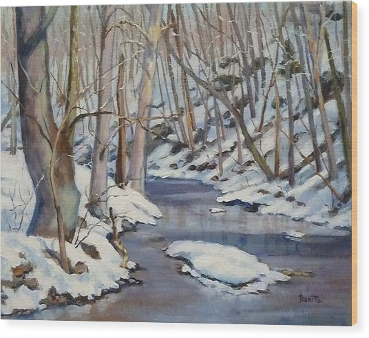 Winter Stream Wood Print