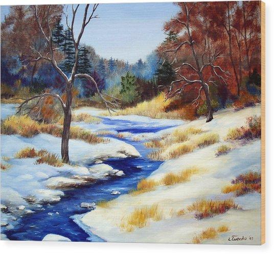 Winter Stream Wood Print by Laura Tasheiko
