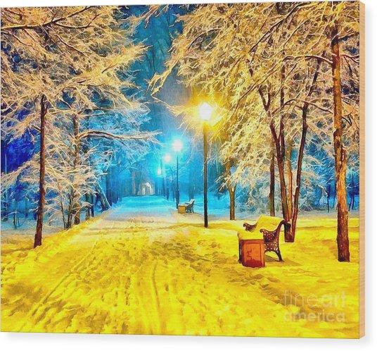Winter Street Wood Print