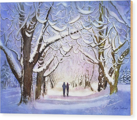 Winter Stroll Wood Print by Leslie Redhead