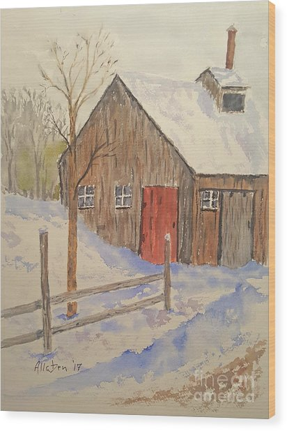Winter Sugar House Wood Print