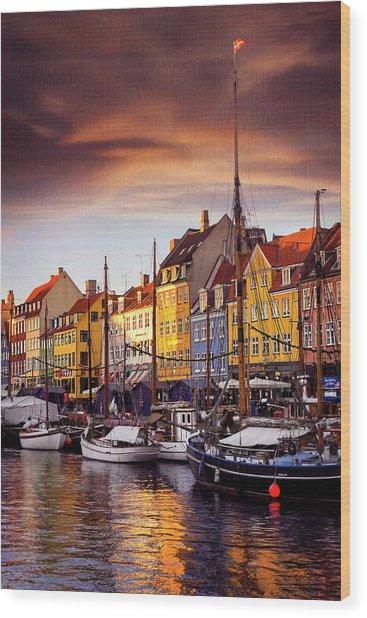 Winter Sun Over Nyhavn Copenhagen  Wood Print