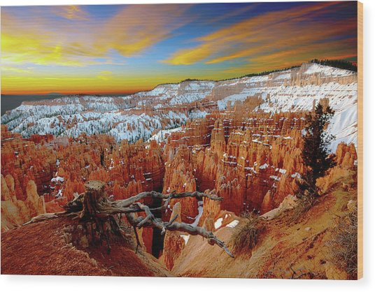 Winter Sunrise At Bryce Wood Print