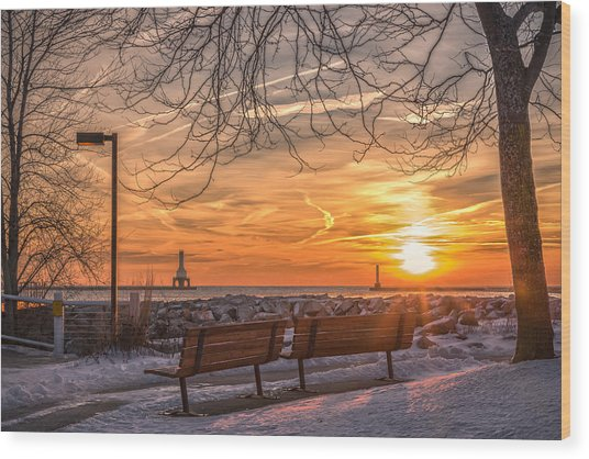 Winter Sunrise In The Park Wood Print
