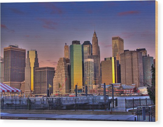 Winter Sunrise Over Downtown Manhattan Wood Print by Val Black Russian Tourchin