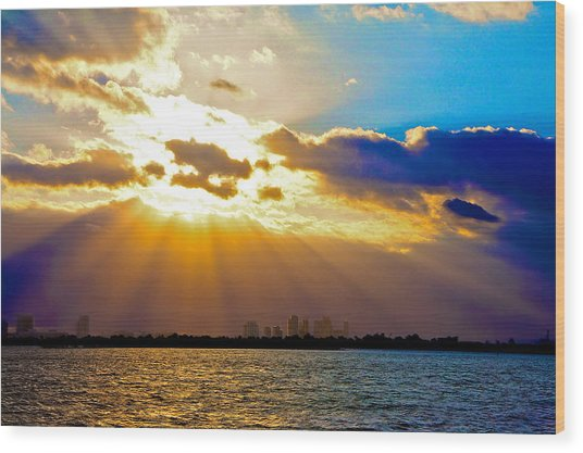 Winter Sunrise Over Miami Beach Wood Print by William Wetmore