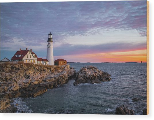 Winter Sunrise Over Portland Head Light Wood Print