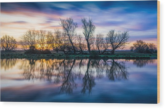 Winter Sunrise Over The Ouse Wood Print