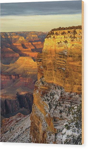 Winter Sunset At The Grand Canyon Wood Print