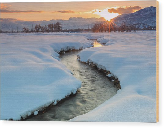 Winter Sunset In Rural Utah. Wood Print