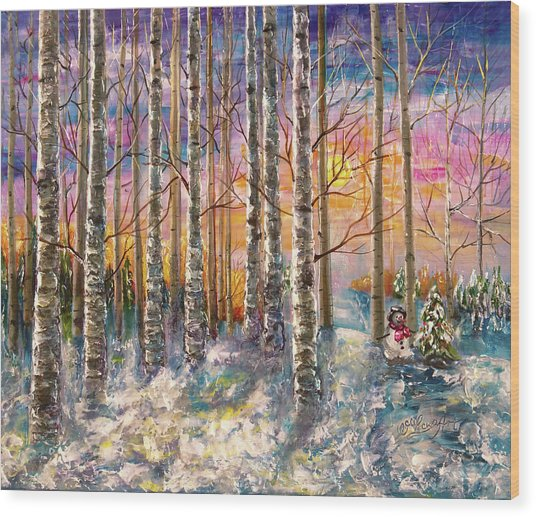 Dylan's Snowman - Winter Sunset Landscape Impressionistic Painting With Palette Knife Wood Print