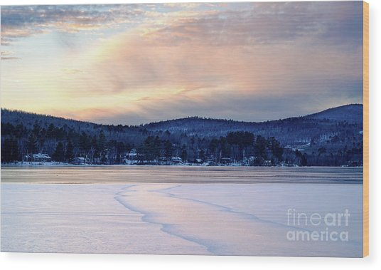 Winter Sunset On Wilson Lake In Wilton Me  -78091-78092 Wood Print