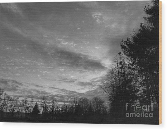 Winter Sunset On Woodland Lake Wood Print