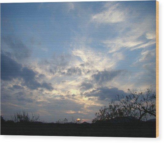 Winter Sunset One Wood Print by Ana Villaronga