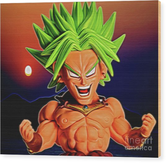 Wood Print featuring the digital art Sunset Ss Broly by Ray Shiu