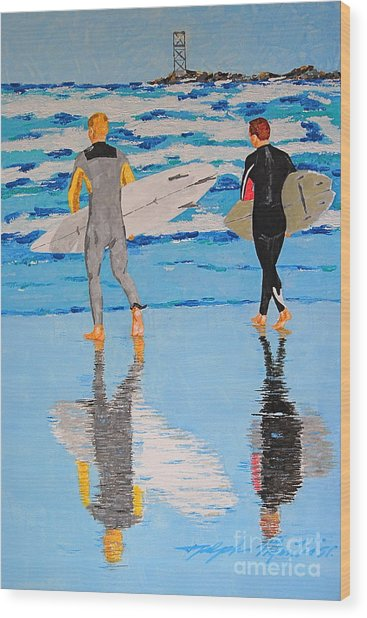 Winter Surfers Wood Print