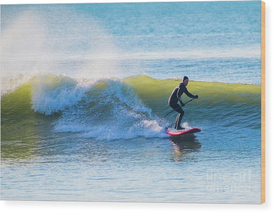Winter Surfing In Aberystwyth Wood Print