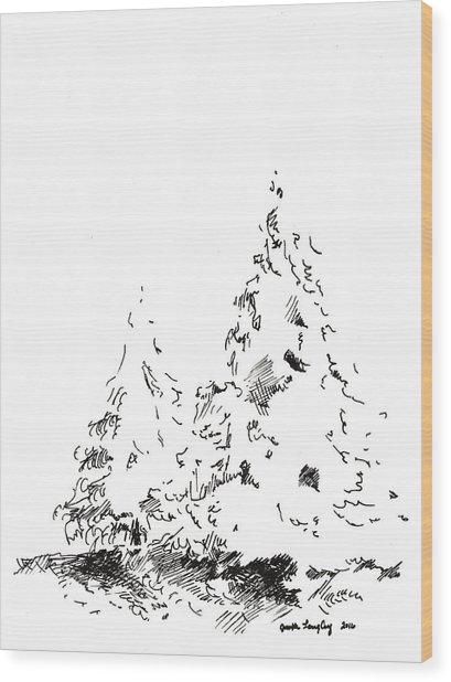 Winter Trees 1 - 2016 Wood Print