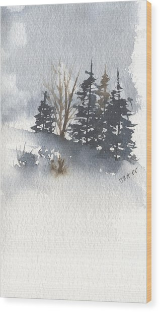Winter Trees Wood Print by Jan Anderson