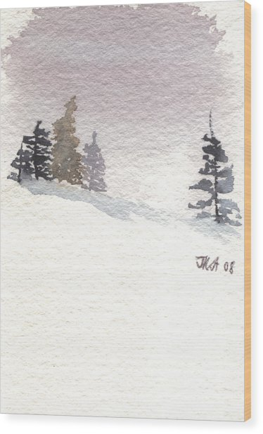 Winter Trees With Purple Sky Wood Print by Jan Anderson