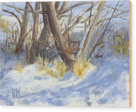 Winter Trunks Wood Print
