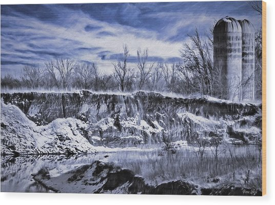 Winter Twin Silos Wood Print