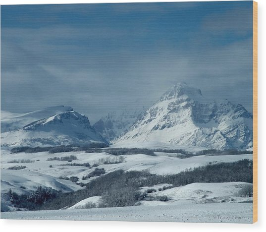 Winter View Of Rising Wolf Mountain Wood Print