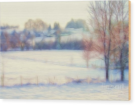 Winter Village Wood Print