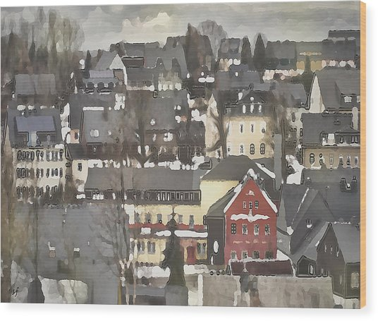 Wood Print featuring the digital art Winter Village With Red House by Shelli Fitzpatrick
