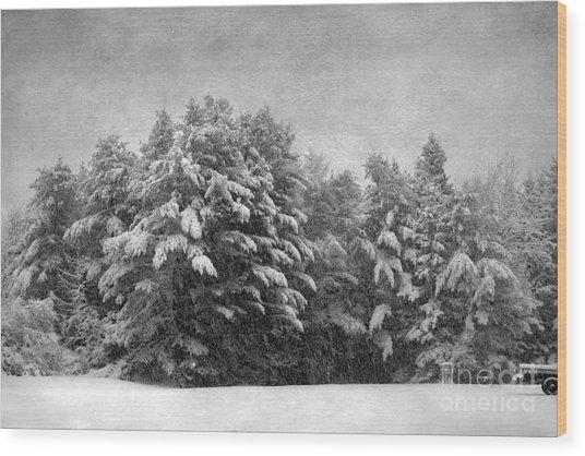 Winter Vintage Wood Print