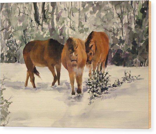 Winter Walk Wood Print by Andrea Birdsey Kelly
