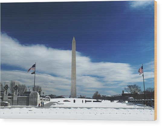 Winter Washington Monument Wood Print