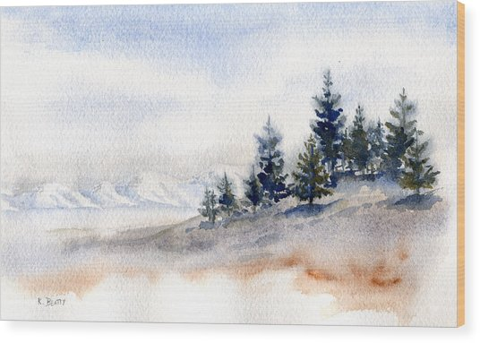 Winter Watercolor Painting Wood Print