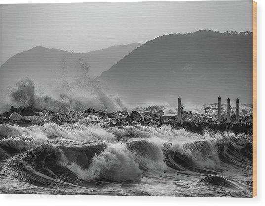 Winter Waves Wood Print