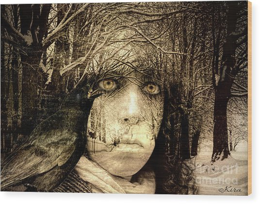 Winter Witch Wood Print